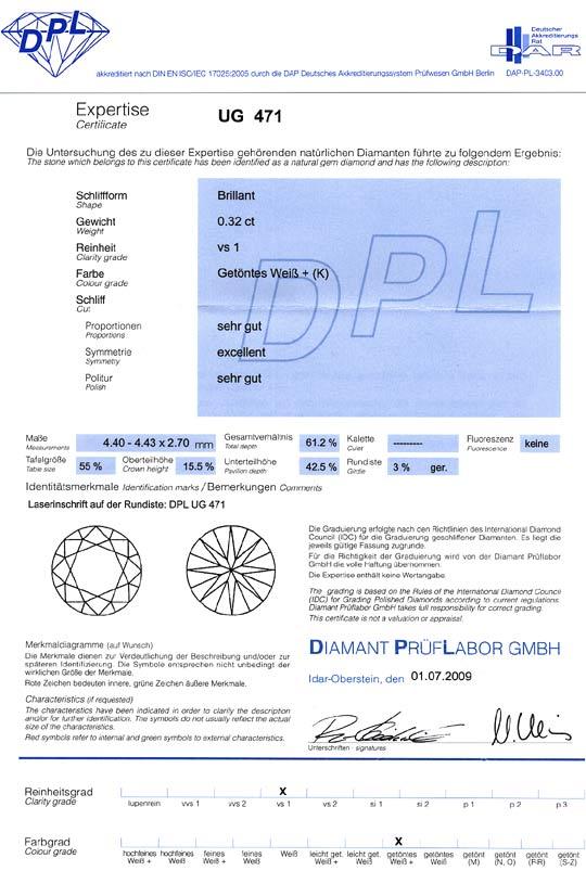 Foto 9, Diamant 0,32Carat Brillant DPL Expertise K VS1 VG Ex VG, D6380
