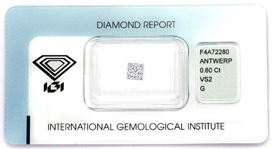 Foto 1, Diamant im Princess Schliff 0,60ct VS Top Wesselton IGI, D6386