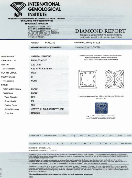 Foto 9, Diamant im Princess Schliff 0,60ct VS Top Wesselton IGI, D6386
