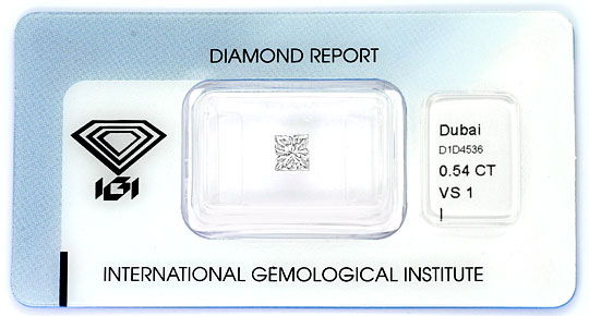 Foto 1 - Diamant im Princess Schliff 0,54 ct VS1 Top Crystal IGI, D6387