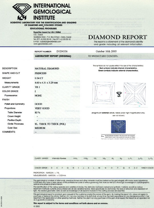 Foto 9, Diamant im Princess Schliff 0,54 ct VS1 Top Crystal IGI, D6387