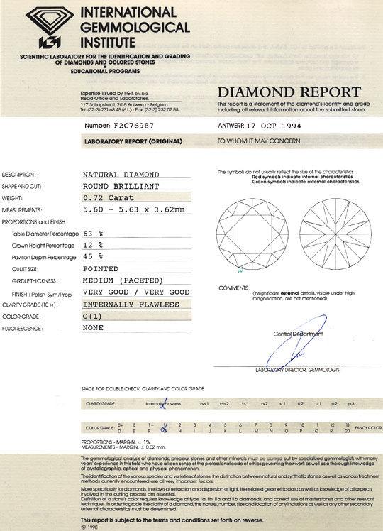 Foto 9, Diamant 0,72 Carat Brillant IGI Lupenrein Top Wesselton, D6391