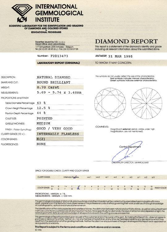 Foto 9, Diamant 0,70ct Brillant IGI Lupenrein Wesselton Weiss H, D6392