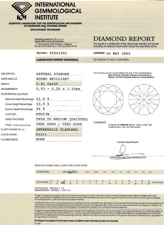Foto 9, Diamant 0,61 Brillant IGI Lupenrein feines Weiss Plus F, D6395