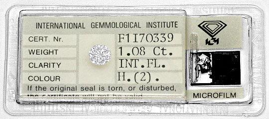 Foto 1, Diamant 1,08 ct Brilliant IGI Lupenrein Wesselton Weiss, D6396