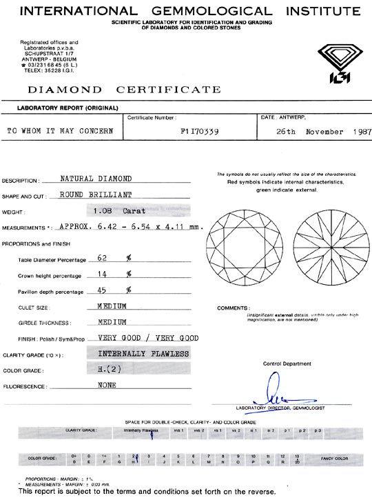 Foto 9, Diamant 1,08 ct Brilliant IGI Lupenrein Wesselton Weiss, D6396