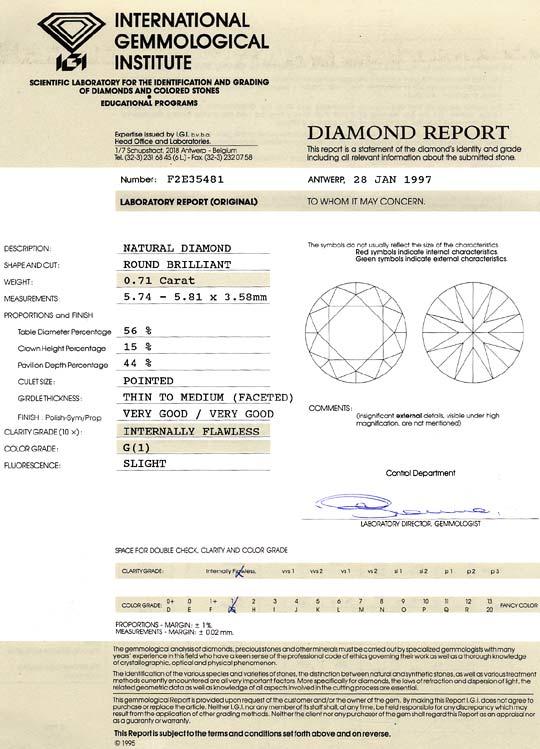 Foto 9, Diamant 0,71 Carat IGI Lupenrein Top Wesselton Brillant, D6397
