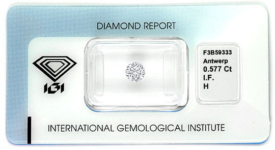 Foto 1, Ideal Cut Diamant 0,577ct Brilliant IGI Lupenrein Weiss, D6398