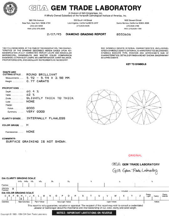 Foto 9, Brillant 0,77ct Wesselton Weiss Lupenrein GIA Gutachten, D6402