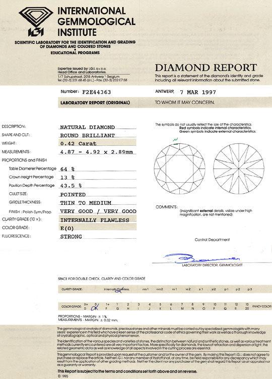 Foto 9, Diamant 0,42ct Brillant IGI Expertise Lupenrein River E, D6407