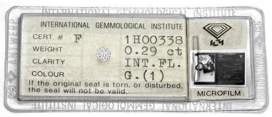 Foto 1, Diamant 0,29 Carat Brillant IGI Lupenrein Top Wesselton, D6409
