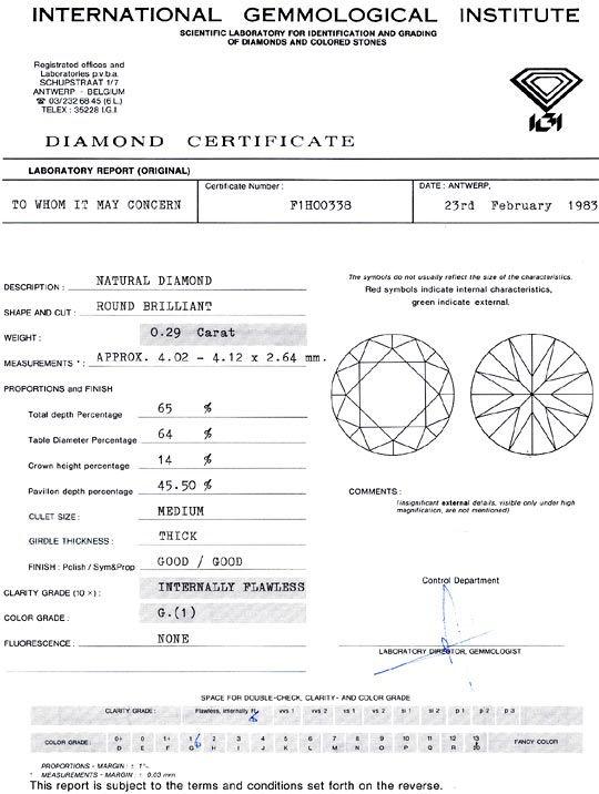Foto 9, Diamant 0,29 Carat Brillant IGI Lupenrein Top Wesselton, D6409
