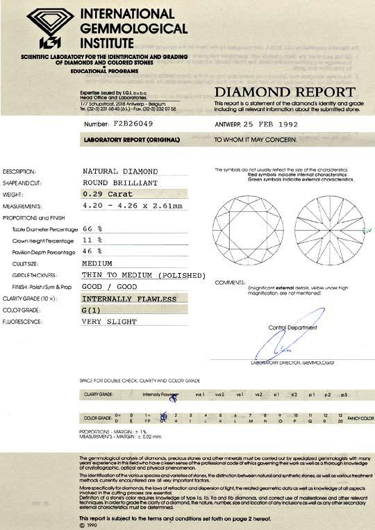 Foto 9, Diamant 0,29 Carat Brillant IGI Lupenrein Top Wesselton, D6410
