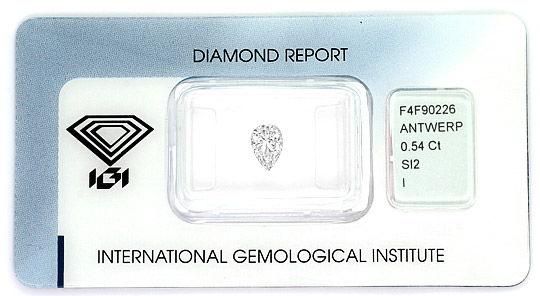 Foto 1, Diamant Tropfen 0,54Carat Top Crystal SI2 IGI Gutachten, D6415