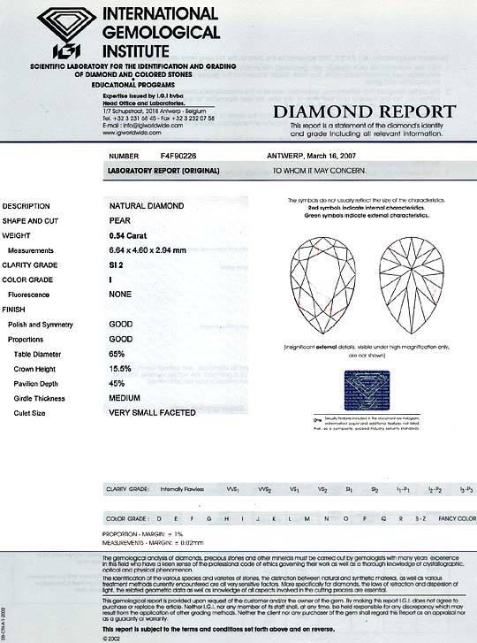 Foto 9, Diamant Tropfen 0,54Carat Top Crystal SI2 IGI Gutachten, D6415