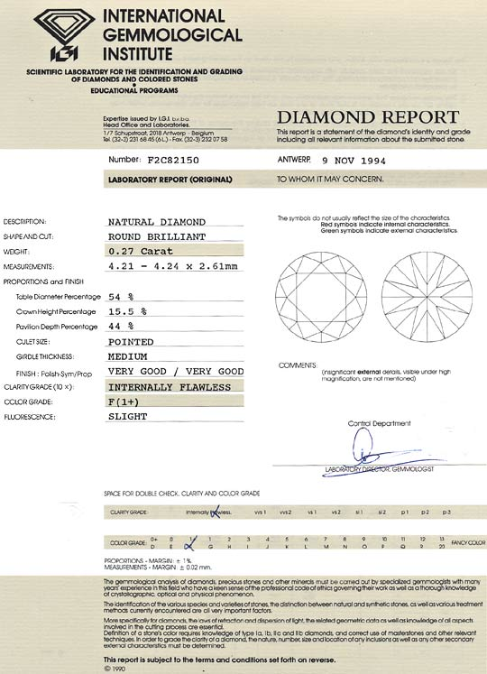 Foto 9, Diamant 0,27ct Lupenrein feines Weiss Plus Brillant IGI, D6417