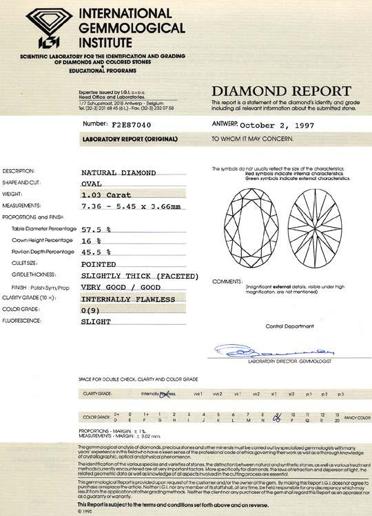 Foto 9, Ovaler Diamant 1,03 ct Lupenrein, Zitrone Hell Cape IGI, D6421