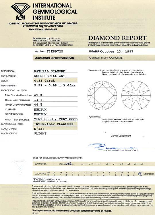 Foto 9, Diamant 0,81 Brillant Lupenrein Yellow Zitrone Hell IGI, D6422