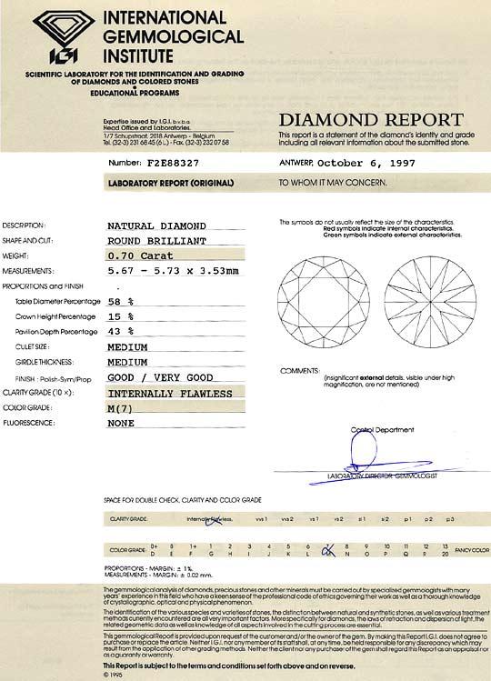 Foto 9, Diamant 0,70Carat Brillant Lupenrein Cape IGI Expertise, D6428