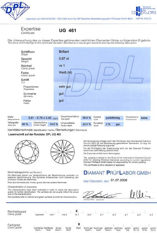 Foto 9, Brillant 0,67Carat Wesselton Weiss VS1 Laser Gravur DPL, D6435