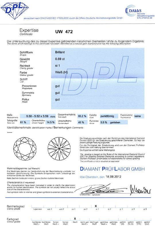 Foto 9, Diamant 0,69 Brillant Weiss Wesselton SI1 DPL Expertise, D6439