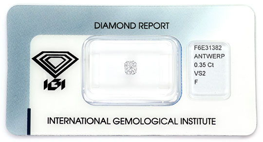 Foto 1, Diamant 0,35ct IGI Top Wesselton F Cornered Rectangular, D6442
