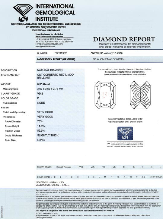 Foto 9, Diamant 0,35ct IGI Top Wesselton F Cornered Rectangular, D6442