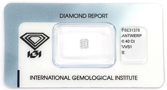 Foto 1, Diamant 0,40 Carat Emerald Cut River VVS1 IGI Expertise, D6443