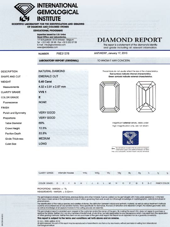 Foto 9, Diamant 0,40 Carat Emerald Cut River VVS1 IGI Expertise, D6443