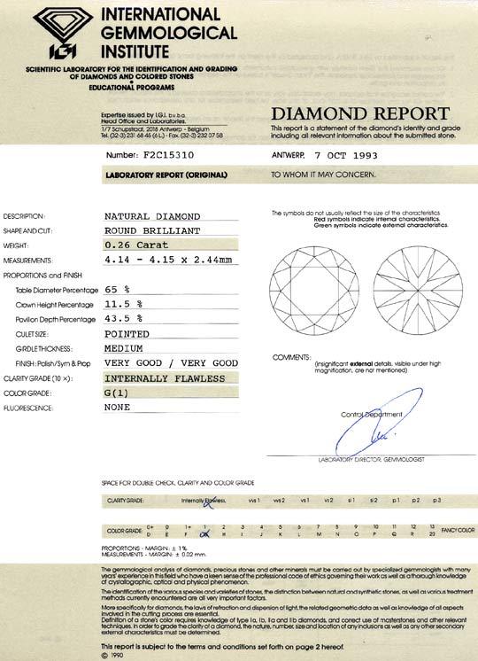 Foto 9, Diamant 0,26 Carat Brillant IGI Lupenrein Top Wesselton, D6449
