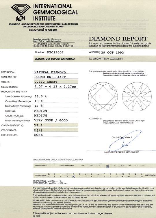 Foto 9, Diamant 0,232 Carat Brilliant IGI Wesselton Weiss H VS2, D6451