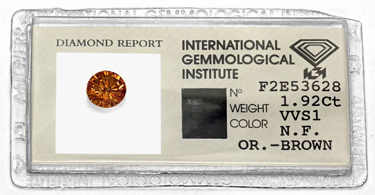 Foto 1, 1,92 Carat Brillant IGI Natural Fancy Orange Brown VVS1, D6452