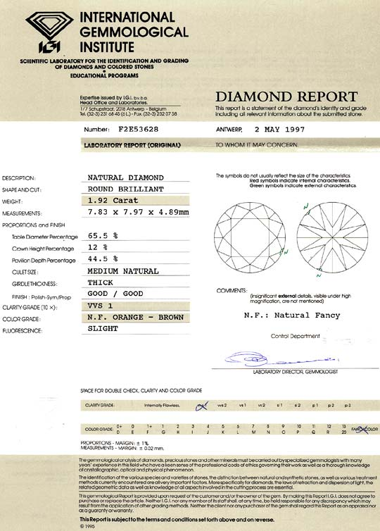 Foto 9 - 1,92 Carat Brillant IGI Natural Fancy Orange Brown VVS1, D6452