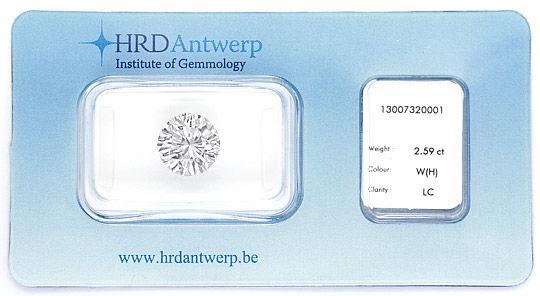Foto 1, 2,59ct Riesen Diamant Lupenrein Wesselton HRD Gutachten, D6454