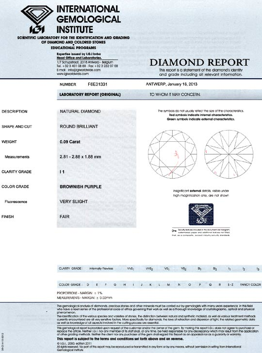 Foto 9 - Purple Rosa Diamant Natural Diamond Brownish Purple IGI, D6458
