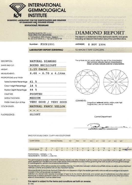 Foto 9, 1,15ct Diamant Lupenrein, Natural Fancy Yellow Laut IGI, D6459