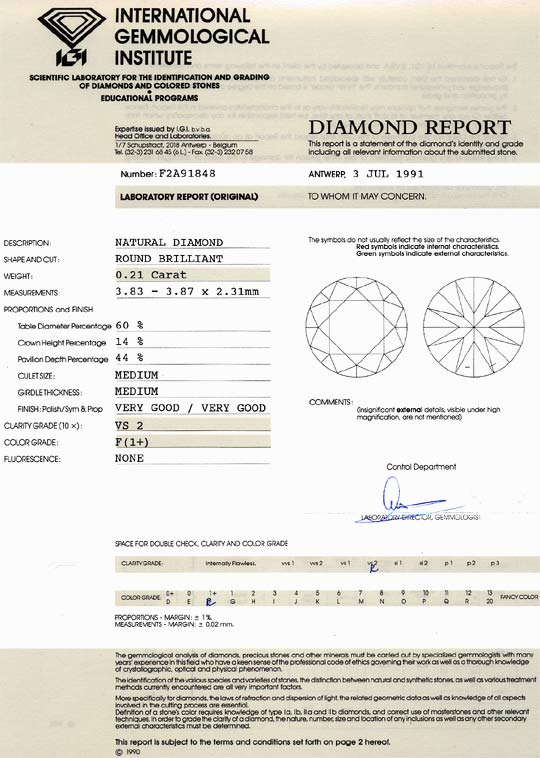 Foto 9, Diamant 0,21 Brillant Top Wesselton F VS2 IGI Gutachten, D6461