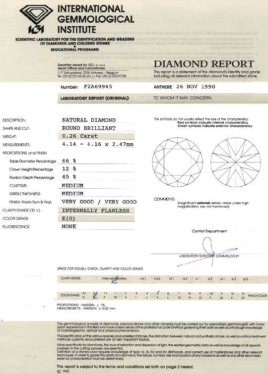 Foto 9, Diamant 0,26 ct Brilliant River Lupenrein IGI Expertise, D6463