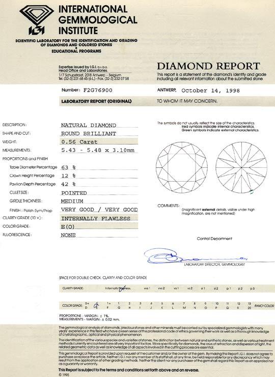 Foto 9, Diamant 0,56ct Brilliant River Lupenrein IGI Zertifikat, D6466
