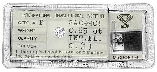 Foto 1, 0,65ct Diamant IGI Lupenrein Top Wesselton feines Weiss, D6468
