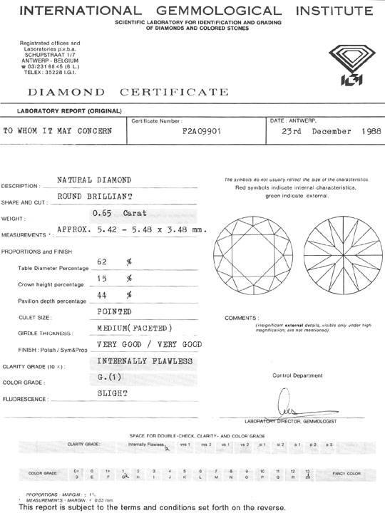 Foto 9, 0,65ct Diamant IGI Lupenrein Top Wesselton feines Weiss, D6468