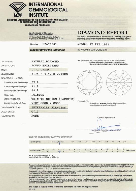 Foto 9, 0,31 ct Brillant Lupenrein Top Wesselton IGI Zertifikat, D6473