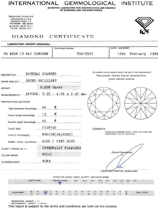 Foto 9, 0,258 Brillant Lupenrein F Top Wesselton IGI Zertifikat, D6476