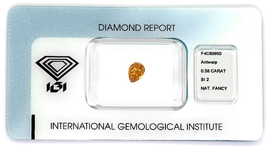Foto 1, 0,58ct Fancy Deep Yellow Orange SI2 Trofpen Diamant IGI, D6488