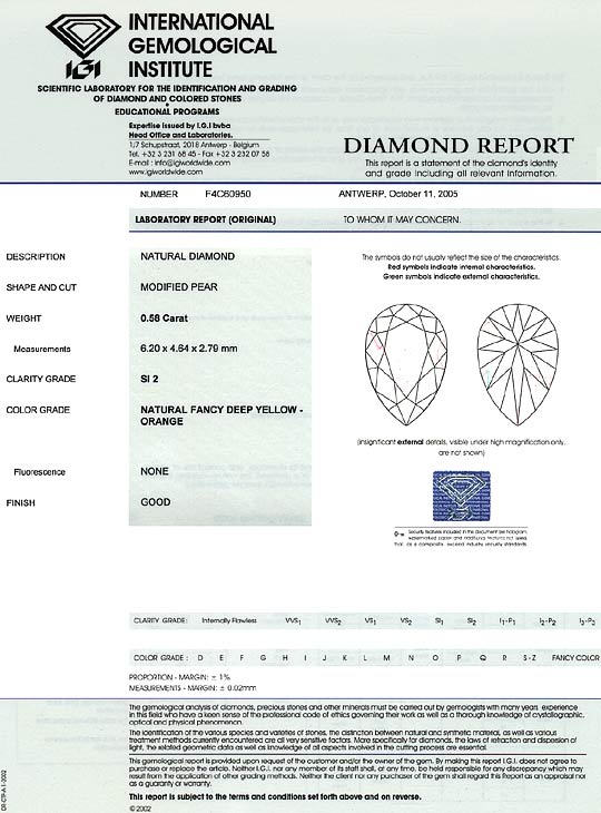 Foto 9, 0,58ct Fancy Deep Yellow Orange SI2 Trofpen Diamant IGI, D6488