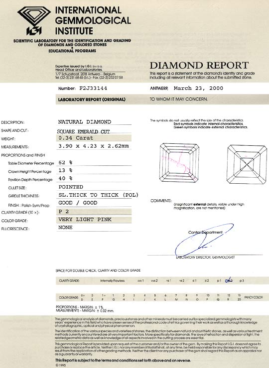Foto 9, 0,34ct Very Light Pink Square Emerald Cut IGI Expertise, D6492