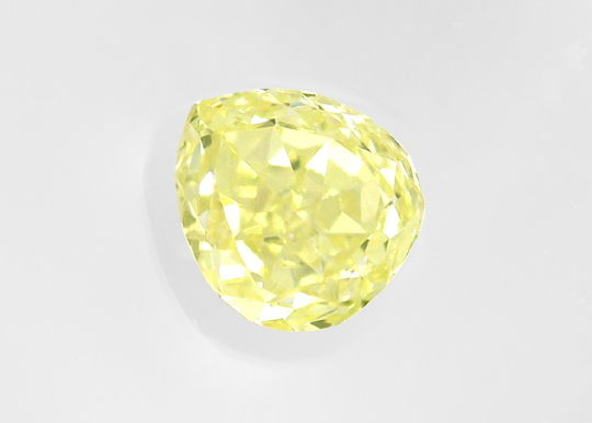 Foto 2, 0,42 Fancy Yellow Zitrone Tropfen Schliff HRD Expertise, D6496