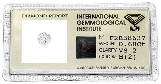 Foto 1, 0,68 Carat Brillant Wesselton H Weiss VS2 IGI Expertise, D6498