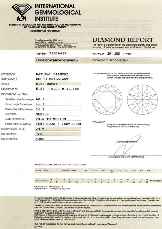 Foto 9, 0,68 Carat Brillant Wesselton H Weiss VS2 IGI Expertise, D6498