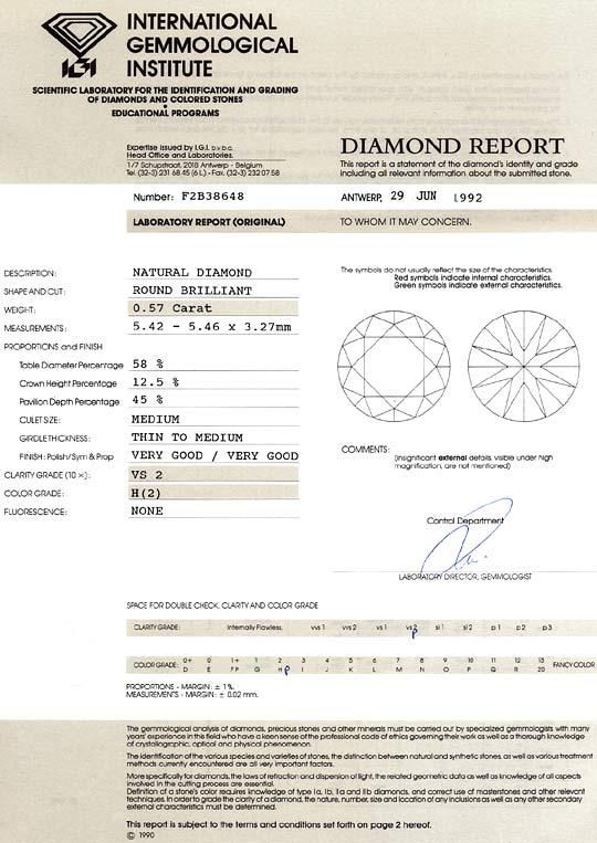 Foto 9, 0,57Carat Brillant Weiss Wesselton H VS2 IGI Zertifikat, D6499